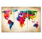 Tableau de la carte du monde en version multicolore sur trois panneaux