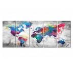 Tableau imprimé de la carte du monde multicolore en 5 panneaux pour votre décoration murale
