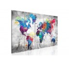 World map canvas print in five panels for a design wall interior