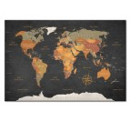 Tableau de la carte du monde sur fond noir avec des couleurs oranges