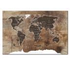 Tableau design de la carte du monde avec effet bois pour une déco murale moderne