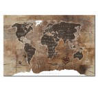 Design wall art of the world map with wood effect for a modern wall decoration