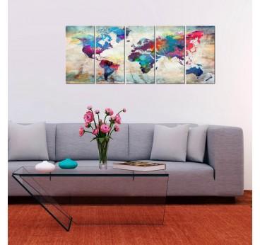 Tableau xxl design de la carte du monde dans un salon moderne