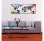 Design wall art of the world map in a modern living room