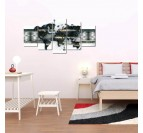Gray world map art print with a metal effect for a bedroom wall decoration