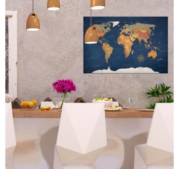 Tableau design imprimé de la carte des océans pour créer une décoration murale moderne