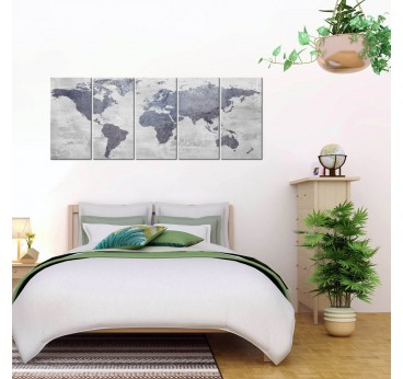 Concrete effect for this big canvas print of the world map in a room decoration