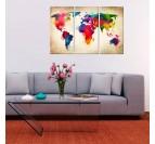 Tableau imprimée moderne de la carte du monde en version multicolore dans une déco murale salon