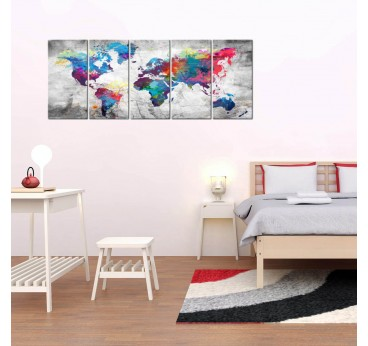 Big wall canvas of the world map in a modern room decoration