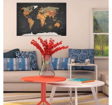 Tableau contemporain de la carte du monde pour une décoration murale design