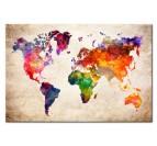 Toile imprimée murale de la carte du monde en couleur