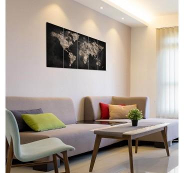 Décoration murale de salon avec notre tableau carte du monde noir pour un style unique