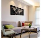 Black world map canvas print for an unique interior decoration