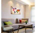 Modern decorative canvas of the world map for a stylish interior