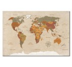 World map design art canvas with light colors for your interior