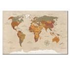 Tableau design de la carte du monde en version classique avec des couleurs crèmes