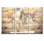 Tableau imprimé au style boho de la carte du monde en trois panneaux
