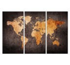 Orange world map wall art canvas in 3 panels
