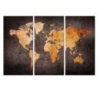 Tableau carte du monde en 3 parties avec des couleurs oranges et noires