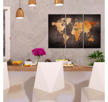 Orange world map wall canvas in a modern interior for decoration