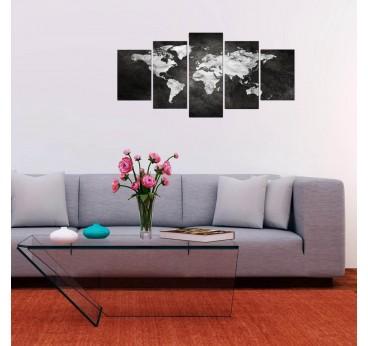 Tableau déco de la carte du monde en gris et blanc dans une décoration murale design