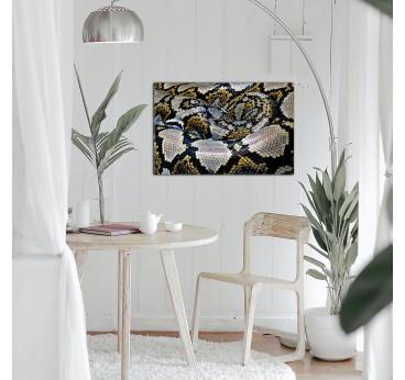 Cette magnifique photo d'art sur aluminium vous présente un serpent jaune pour votre déco murale