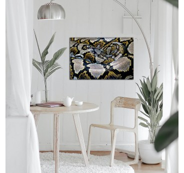 Yellow and grey snake art photo for a modern wall decoration