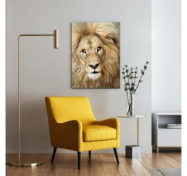 Big lion on an aluminium wall art for a modern wall decoration