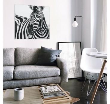 Tableau photo d'art sur aluminium d'un zèbre design dans une décoration murale de salon