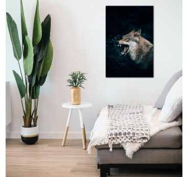 Tableau moderne de loup sur aluminium de nos artistes dans une décoration murale de chambre
