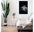 Natural wolf art photo on aluminium in a modern wall decoration interior