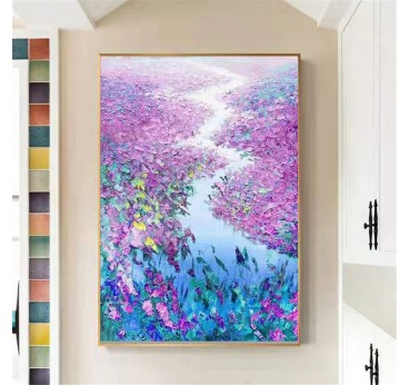 Fiel of flowers and blue river in a modern oil wall painting