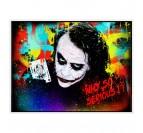 Toile peinture pop art du joker avec des couleurs jaunes et rouges pour votre salon