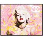 Peinture pop art de la star Marilyn Monroe en version rose et colorée