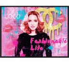 Pop art wall painting of madonna and luxury brands with a pink decoration color