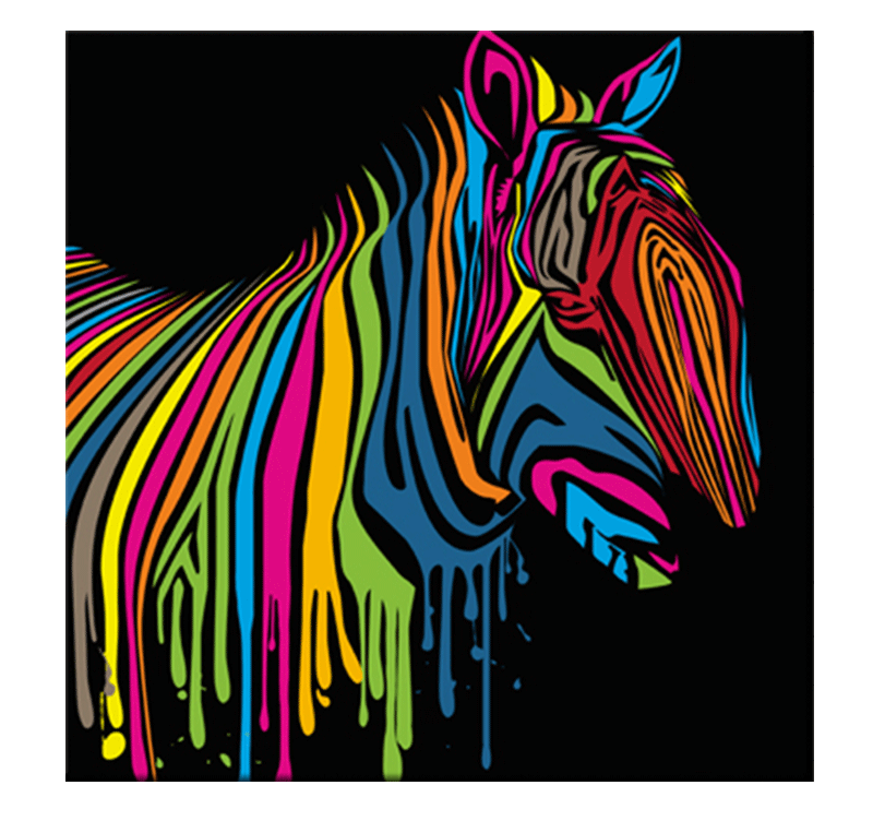 Connu Zebra Flash pop art canvas - ArtWall and Co WI74