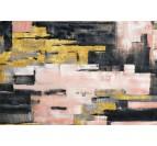 Toile peinture design avec des couleurs dorées et roses pour un intérieur moderne