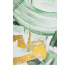 Tableau peinture sur toile en vert et or dans un style zen pour vos grands murs blancs