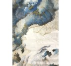 Design wall oil painting of a blue sky with white clouds