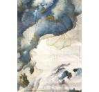 Tableau peinture décoratif en bleu et blanc d'un ciel abstrait avec des courbes dorées
