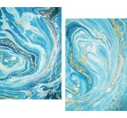 Blue marble wall decoration in two frame handmade from our artist