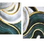 Toile peinture design vibration avec des couleurs vertes et grises réalisées à la main