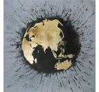 Toile peinture design de la carte du monde en couleur noire et dorée
