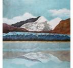 Montagne colorée en tableau peinture design pour une déco murale contemporaine