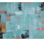 Toile peinture design bleue pour une déco murale de salon contemporaine