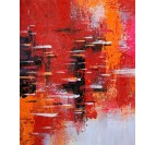 Flame design red oil painting for a contemporary wall