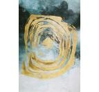 Tableau toile peinture design en bleu avec un cercle doré pour un intérieur tendance