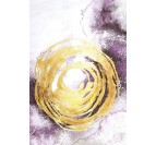 Design wall art painting with a gold circle and a purple colors for a trendy interior