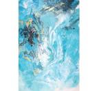 Tableau peinture design bleu marbre avec des lignes dorées