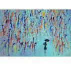 Tableau peinture design en bleu et multicolore avec une femme sous une pluie de peinture